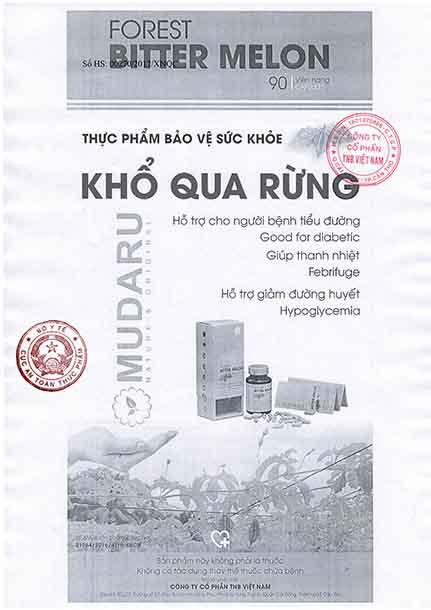 giấy chứng nhận trà mướp đắng rừng Mudaru